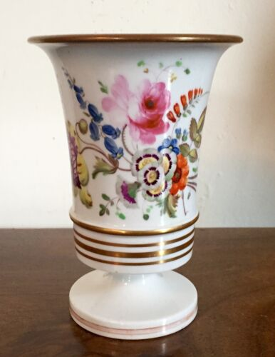 Antique 19th c. English Regency Porcelain Vase Urn Flowers White & Gold Georgian