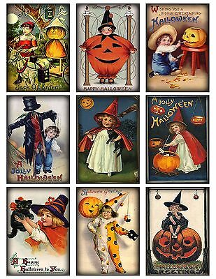9 Vintage Halloween Kids Hang Tags ATC Cards Scrapbooking  (359) ()