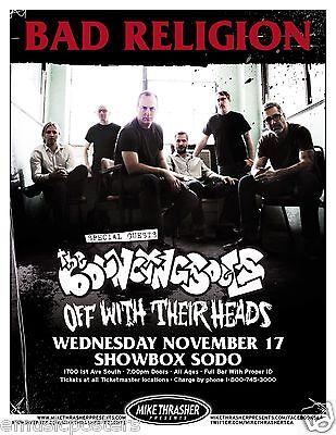 BAD RELIGION / BOUNCING SOULS 2010 SEATTLE CONCERT TOUR POSTER - Punk Rock Music