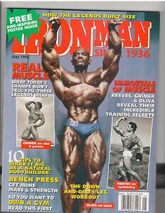 IRONMAN bodybuilding muscle magazine/SERGIO OLIVA with Steve Reeves poster 5-95