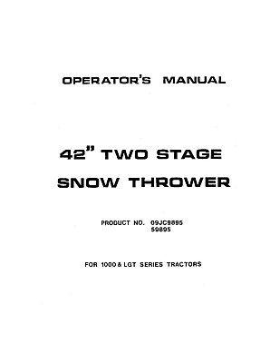 New Holland Snow Thrower Om 2 Stage 09jc9895 Operators Manual