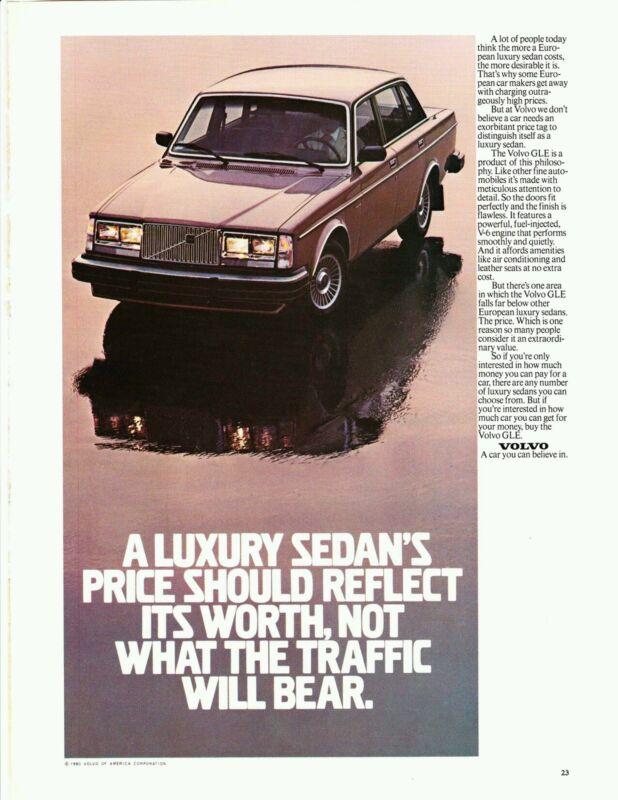 "Vintage 1981 VOLVO GLE luxury sedan auto car magazine  8.5"" x 11""  PRINT AD"