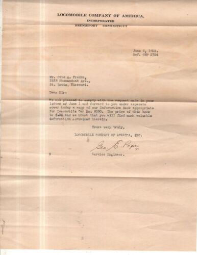 Locomobile original letter and envelope