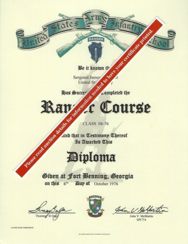 Army Ranger Course School Deploma Replacement Certificate