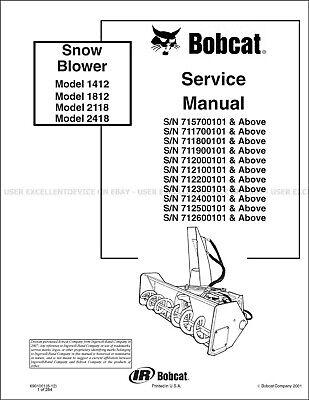 Bobcat Snowblower 1412 1812 2118 2418 Printed Service Manual Rev. 2012 6901001