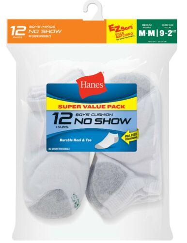Hanes Boys Socks Athletic No Show Cushion ~ Medium 9 - 2 1/2 ~ White ~ 12 PAIR