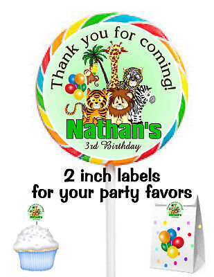 20 JUNGLE SAFARI BIRTHDAY PARTY FAVORS STICKERS LABELS FOR PARTY FAVORS