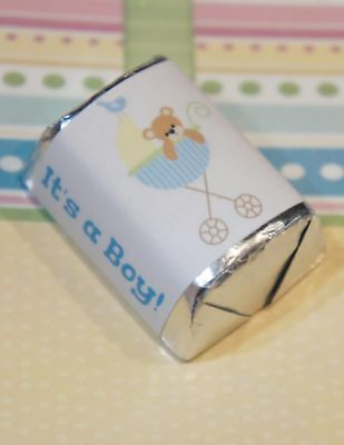 30 Baby Shower It's A Boy Bear Stroller Hershey Candy Nugget Wrappers Stickers