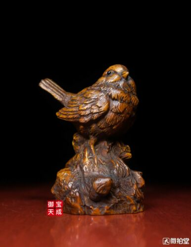 Old Chinese Folk Feng Shui Boxwood Wood Carved Lucky Bird quail Figurine Statue