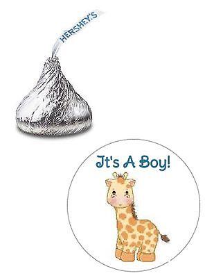 Baby Shower Giraffe (108 ITS A BOY GIRAFFE BABY SHOWER HERSHEY KISS KISSES CANDY STICKERS)