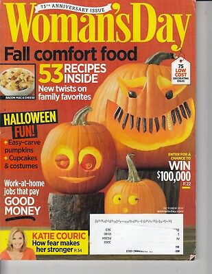 Woman's Day Magazine Halloween Fun 53 Recipes Inside October 2012  Carve Pumpkin - Halloween Pumpkin Recipes