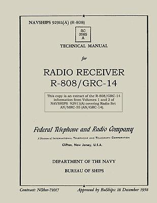 REPRINT NAVSHIPS 92911(A) Radio Receiver R-808/GRC-14