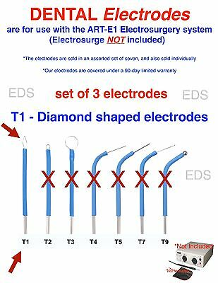Set Of 3 T1  Dental Electrodes T1 Diamond Electrode 116 Diameter Shaft