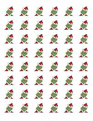 """48 GRINCH CHRISTMAS ENVELOPE SEALS LABELS STICKERS 1.2"""" ROUND"""