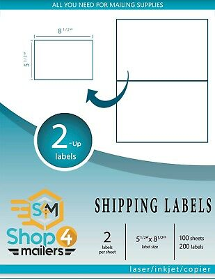 Shop4mailers 2-up White Shipping Labels 200 Sheets 400 Labels Free 2-day Ship