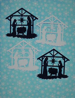 Quickutz Silhouette 4 Nativity Manger Die Cut Embellishments Black or White Sets](Manger Silhouette)