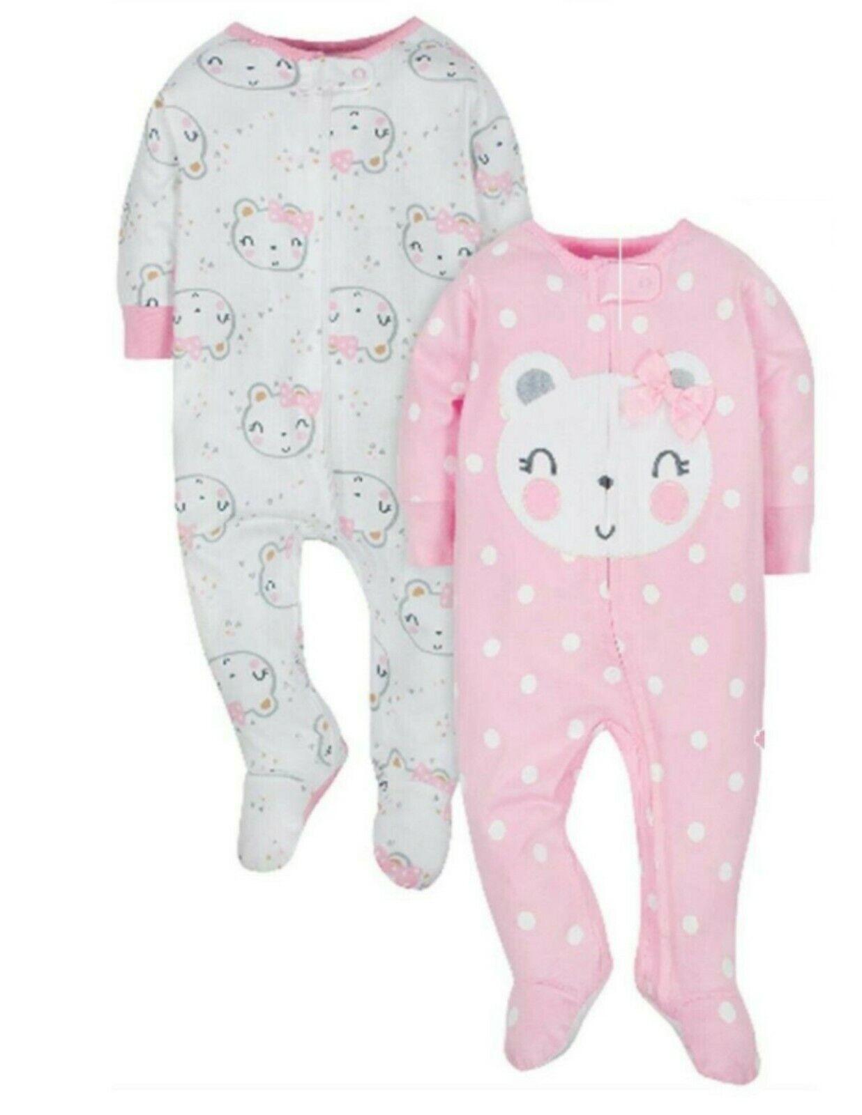 Gerber Baby Girls Onesies Bodysuits 3 Pack Purple Animals 3-