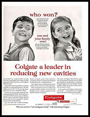 1963 Colgate Toothpaste Vintage PRINT AD Cavities Dental Oral Care Kids 1960s