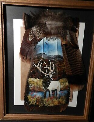 Hand Painted Wild Turkey Tail Feather ELK Wildlife Art Hand Painted Moose