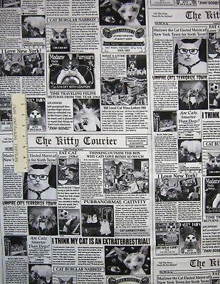 Pet Fabric - Black & White Cat Newspaper Funny Puns - Timeless Treasures YARD - Treasure Cat Costume