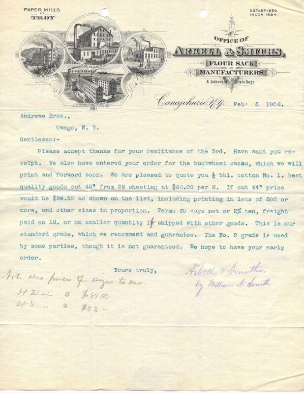 1906 LETTERHEAD ARKELL & SMITHS FLOUR SACK MANUFACTURERS CANAJOHARIE NEW YORK