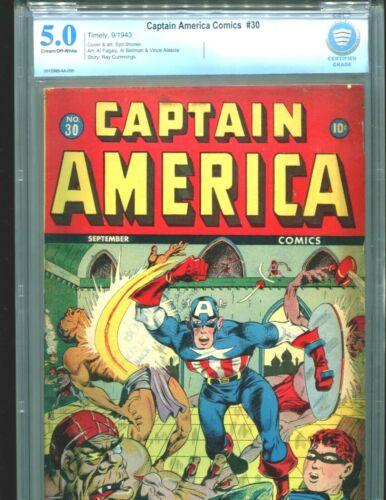 Captain America Comics 30 CBCS 5.0 Classic Bucky Bondage Cover CGC Timely 1943