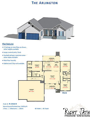 1316 Sq. Ft. One Representation New Home Plan - The Arlington by Right Path Home Design