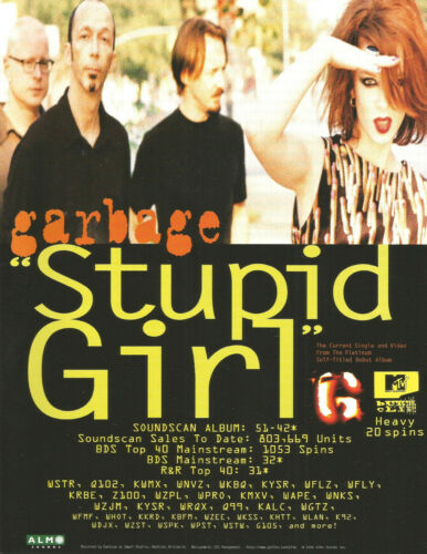GARBAGE Rare 1996 Stupid Girl PROMO TRADE AD Poster for Self titled CD MINT USA