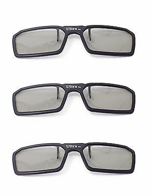 New 3 Pairs of Clip On 3D Glasses Black Polorised Flip Up For LG Tv Cinema (Polorised Glasses)