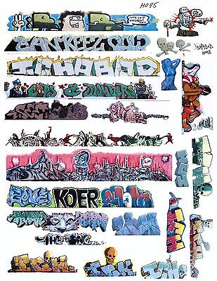 HO SCALE GRAFFITI DECALS 45 COVERED HOPPERS REEFERS  FULL PAGE 21 DECALS