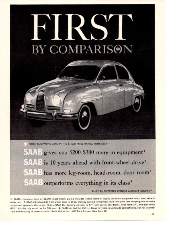 1960 SAAB ~ ORIGINAL PRINT AD