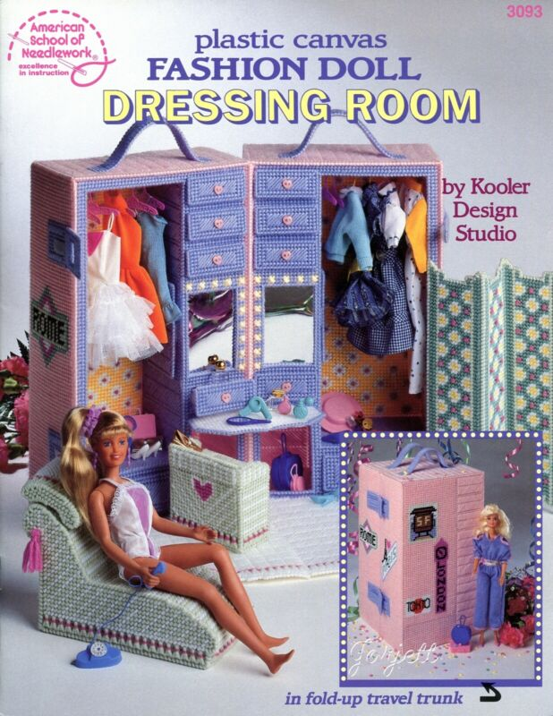 Fashion Doll Dressing Room & Trunk fits Barbie, plastic canvas pattern book USED
