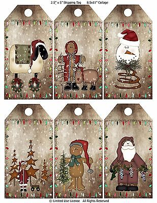 6 Christmas Primitive Rusty Hang Tags Scrapbooking (86) ()