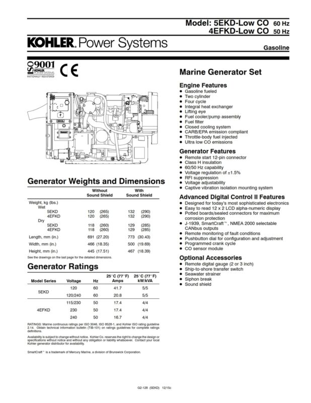 New Kohler 5kW marine generator model 5EKDSSSB