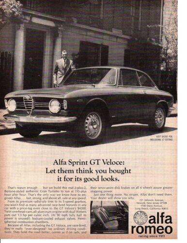 1967 ALFA ROMEO SPRINT GT VELOCE ~ ORIGINAL PRINT AD