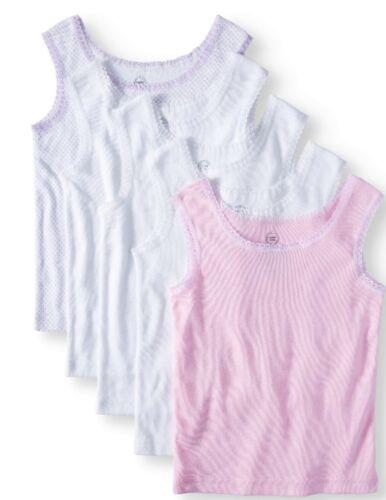 Toddler Girls Tank 100% Cotton Wonder Nation 5 Pack Size 4T/5T Pink White Purple