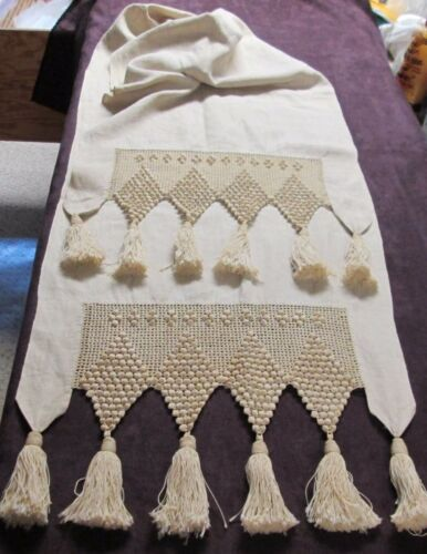 Antique Linen Runner Ornate Popcorn Crochet Hand Made Tassels Fabulous!