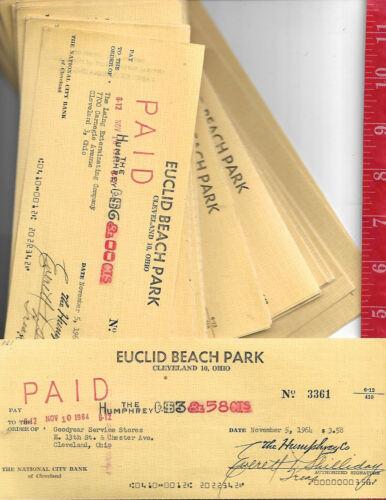 Vintage lot 100+ Euclid Beach amusement Park checks Cleveland Ohio 1960