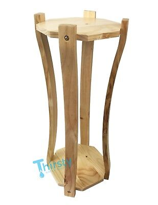 Water Crock Stand Curved Vase Wood Base Modern Dispenser Floor Stand New -