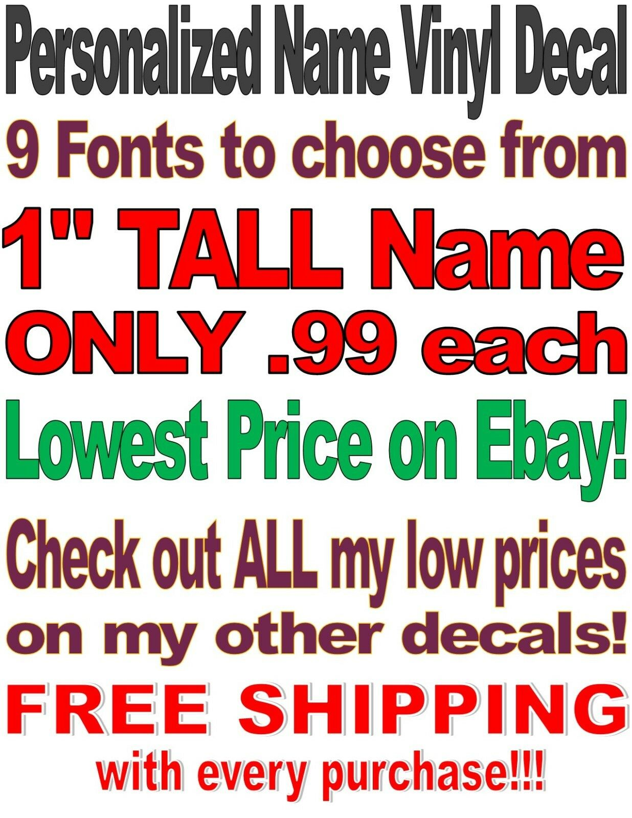 Home Decoration - Custom Personalized Vinyl Lettering Name Decal Sticker .99¢--$3.89 Free Shipping