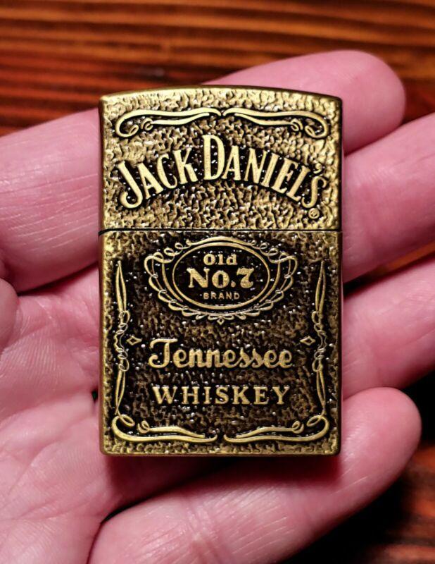 Jack Daniels Brass Fliptop Butane Refillable Lighter-USA Seller-Ships Same Day