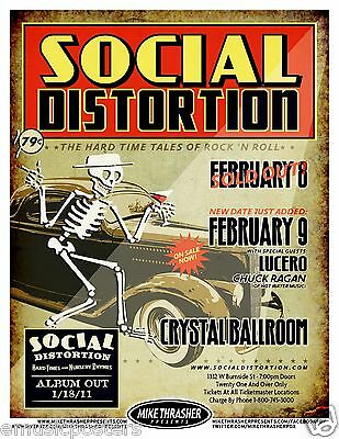 """SOCIAL DISTORTION / LUCERO """"HARD TALES OF ROCK 'N ROLL"""" 2011 CONCERT TOUR POSTER"""