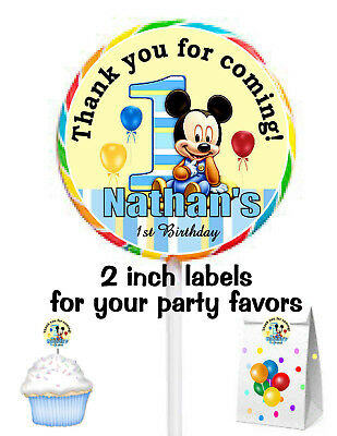 20 MICKEY MOUSE 1ST BIRTHDAY PARTY FAVORS STICKERS LABELS for  your favors - Mickey Mouse For Birthday Party