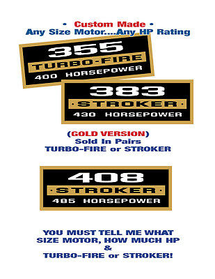 Chevy SB •TURBO-FIRE or STROKER-Valve Cover Decals (GOLD) Any CID Any Horsepower