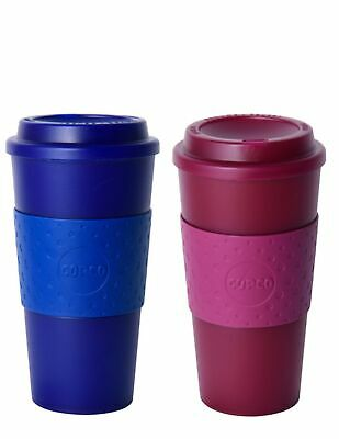 Copco Acadia Translucent Reusable Plastic Travel Mug Set 16 Oz, Navy Marsala Red 16 Oz Translucent Travel Mug