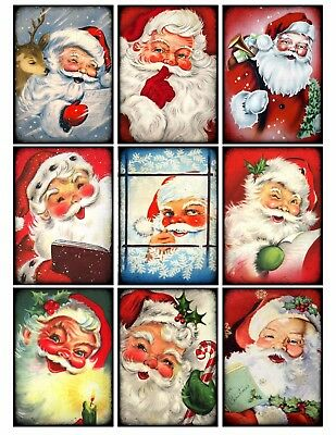 9 Vintage Retro Christmas Santa Hang Tags Scrapbooking Paper Craft (95)