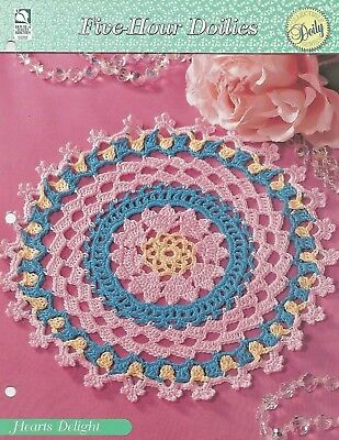Hearts Delight Round Crochet Pattern - Five-Hour Doilies HOWB Series - Circular Patterns