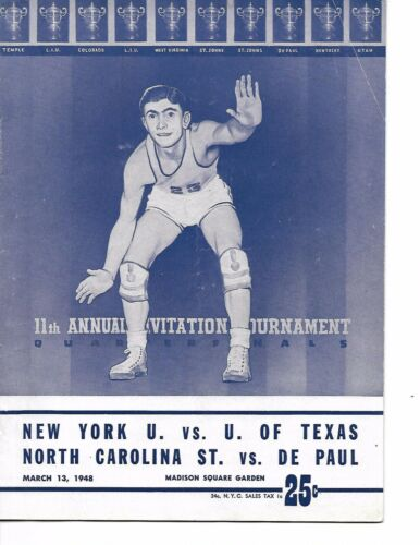 1948 NIT Quarter Finals Program NYU- Texas & DePaul-NC State NICE!!