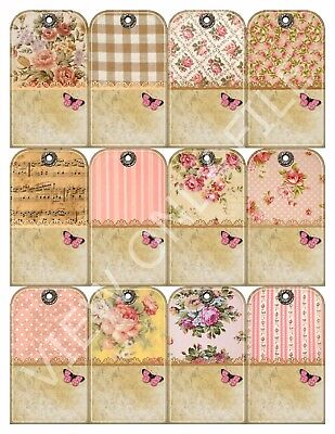 12 Shabby Chic Country Cottage Vintage Hang Tags Scrapbooking Paper Crafts - Shabby Chic Scrapbook Paper