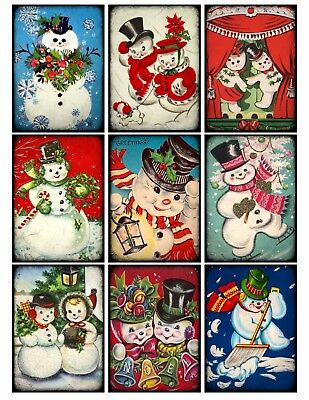 9 Vintage Retro Christmas Snowmen Hang Tags Scrapbooking Paper Craft (94) (Christmas Snowmen)